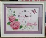 Tranh thêu chữ thập-Đồng hồ hoa hồng-TCT49