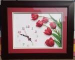 Tranh thêu chữ thập-Đồng hồ hoa tulip-TCT52