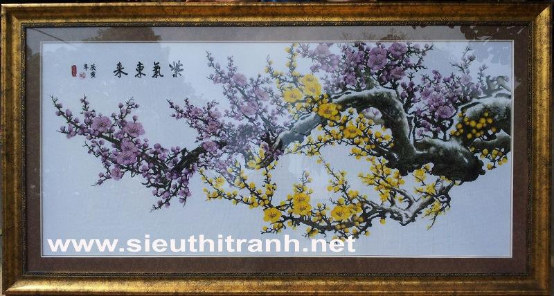 Tranh thêu chữ thập-Mộc long đào hoa-TCT35
