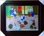 Tranh nghệ thuật IN040-Lớp học làng quê
