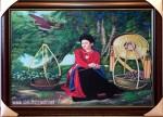 Tranh sơn dầu-thiếu nữ bán hoa sen-s158