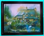 Tranh ép gỗ-Ngôi nhà hạnh phúc-V31