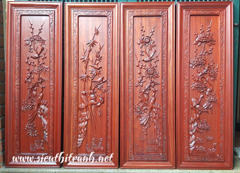 Tranh gỗ hương, Xuân Hạ Thu Đông-TG029