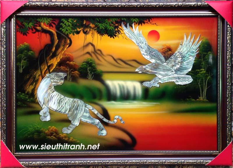 Tranh sơn mài-anh hùng tương ngộ-sm198