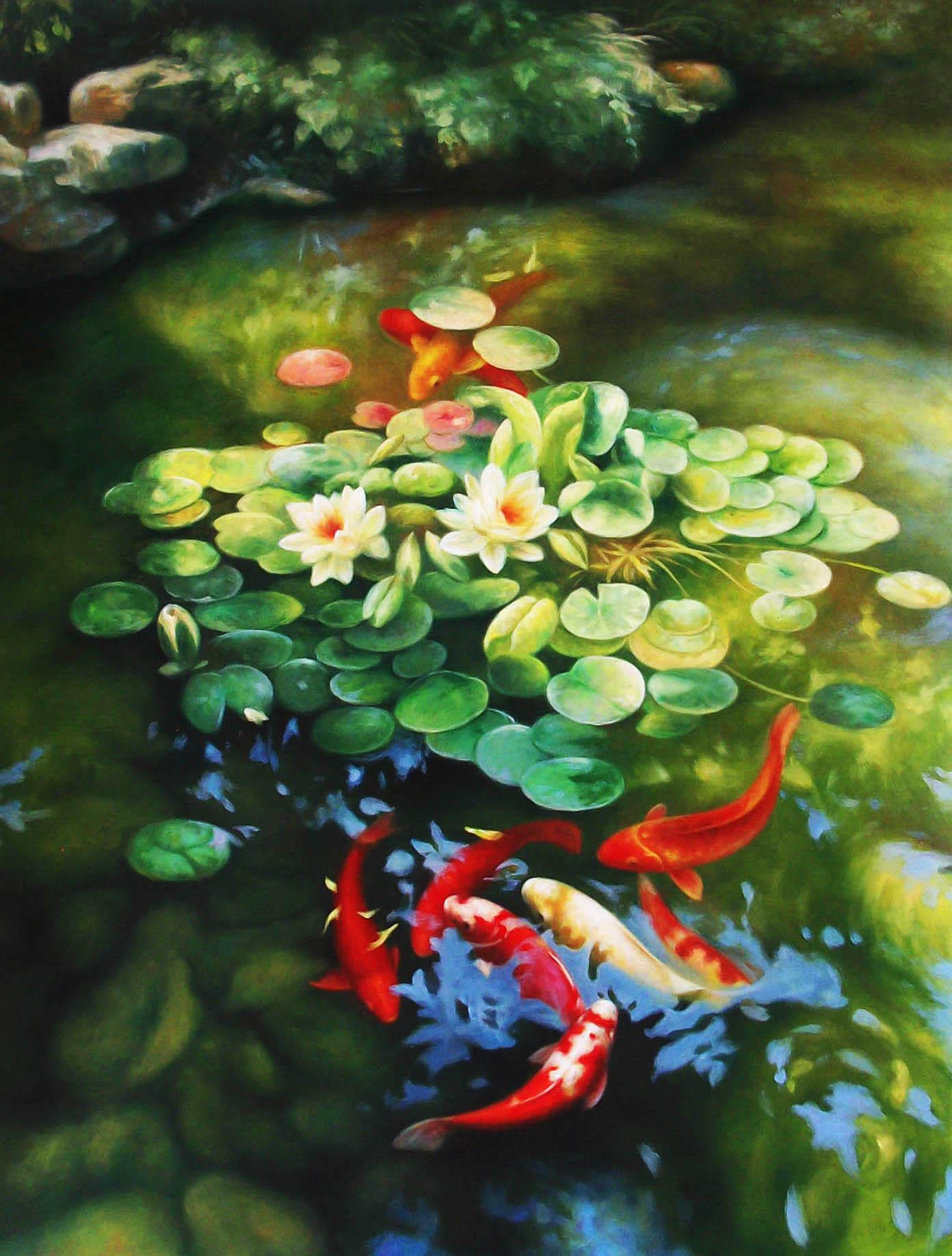 """Ý nghĩa tranh sơn dầu """"Cá chép vượt vũ môn"""""""