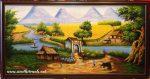 Tranh sơn dầu S055-Cây đa cổng làng