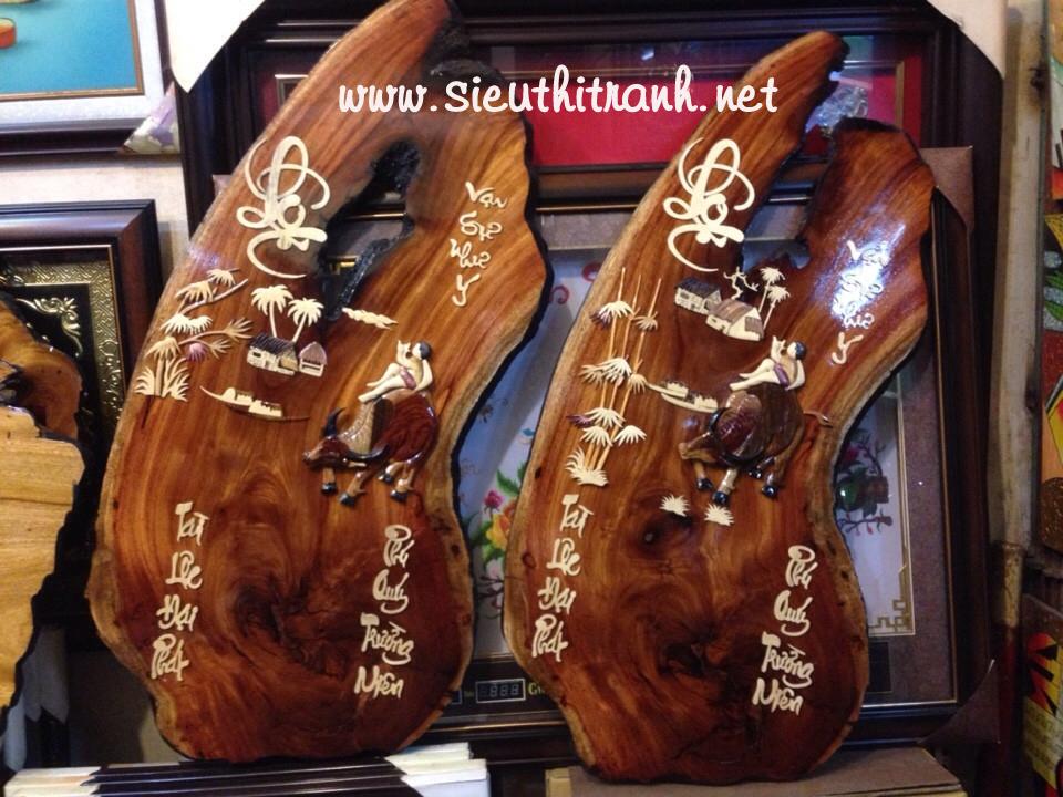 Tranh lốc lịch gỗ gõ đỏ mục đồng thổi sáo – TG098