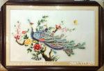 Tranh thêu tay ,Đôi chim công -T345