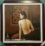 Tranh sơn dầu Thiếu nữ lưng trần- S229