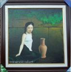 Tranh sơn dầu,Thiếu nữ bên bình gốm -S231