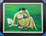 Tranh sơn dầu nghệ thuật, thiếu nữ suy tư -S238