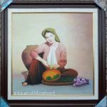 Tranh sơn dầu nghệ thuật, thiếu nữ quê -S239