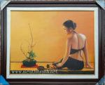 Tranh sơn dầu, nghệ thuật thiếu nữ -S234