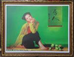 Thiếu nữ kiêu sa, tranh in dầu -IN48