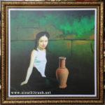 Thiếu nữ bên bình gốm, in dầu -IN41