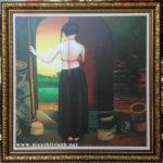 Thiếu nữ bên lò gốm ,in dầu -IN42
