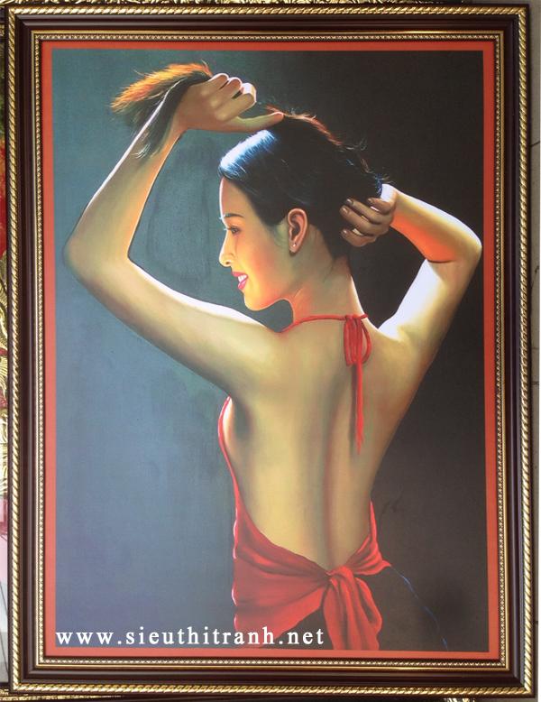 Thiếu nữ búi tóc, tranh in dầu -IN47