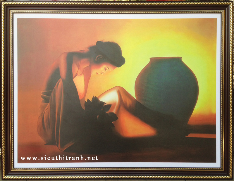 Tranh thiếu nữ bên chum, in dầu -IN46