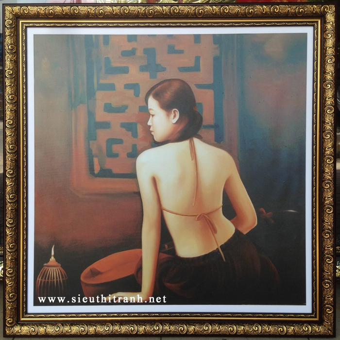 Thiếu nữ lưng trần, in dầu -IN39