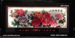 Tranh hoa mẫu đơn,thêu chữ thập đèn led-2077