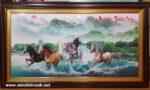 Bát mã quần thủy,tranh in dầu -IN059