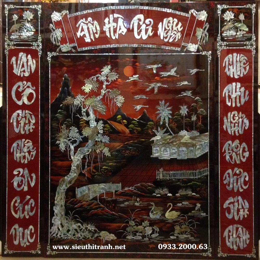 Tranh thờ cúng sơn mài, Ẩm Hà Tư Nguyên- SM277