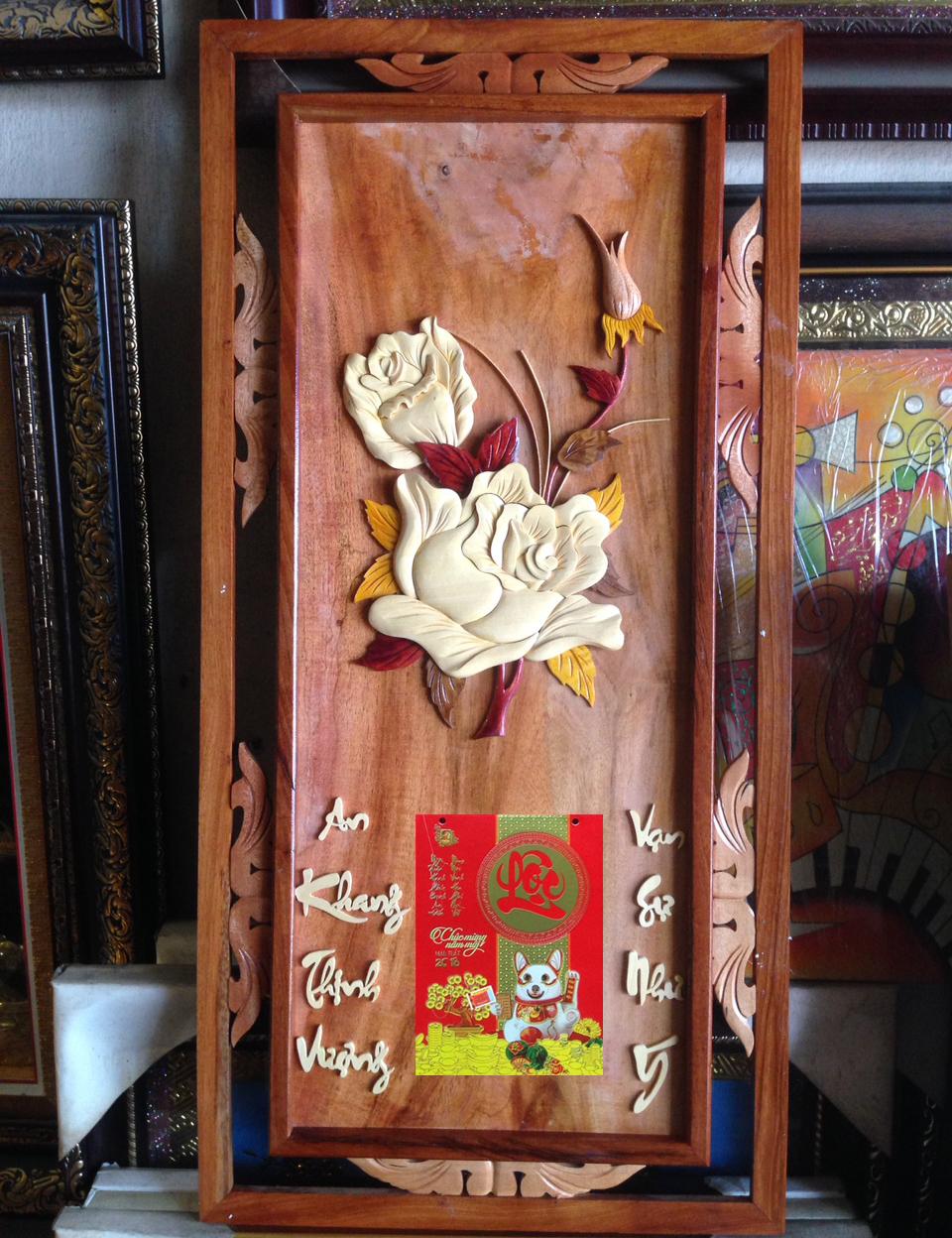 Đốc lịch gỗ treo tường, Hoa Hồng -TG180