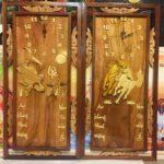 Tranh gỗ đốc lịch đồng hồ, Mã đáo & cá Chép -TG209