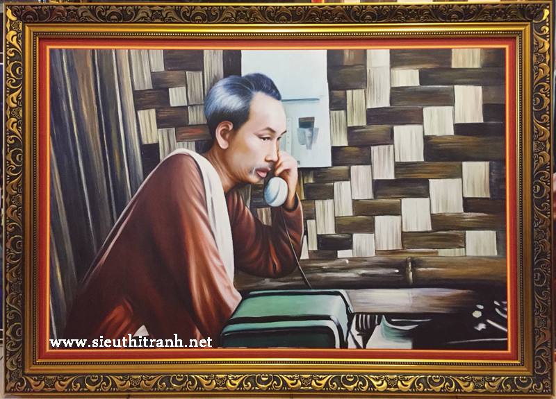 Tranh in dầu, Bác Hồ nghe điện thoại trên Việt Bắc -IN079