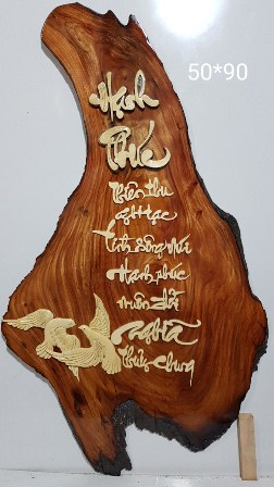 Tranh gỗ thư pháp,hạnh phúc-tg065